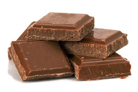 chunk: chocolate bars over white background