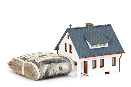 downpayment: house and money Stock Photo
