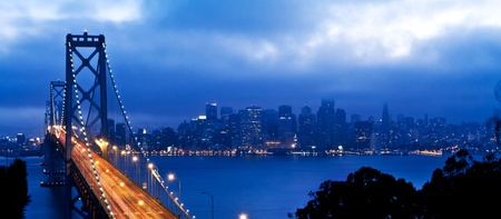 bay area: Bay Bridge with San Francisco city view after sunset