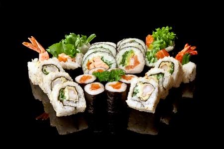 variety of japanese sushi