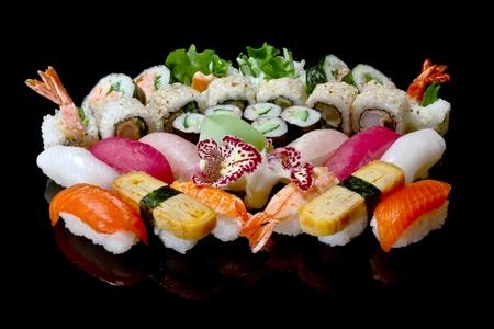 sushi chopsticks: variety of japanese sushi