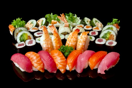 variety of japanese sushi  photo