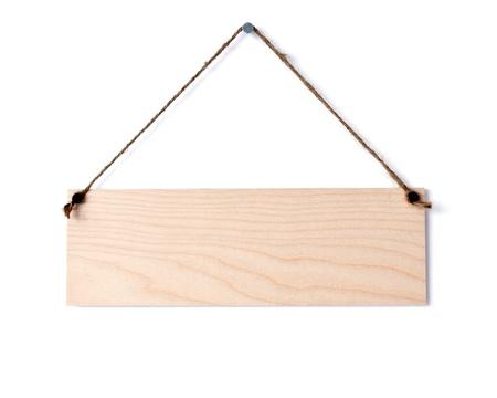 wooden board on white wall Banco de Imagens