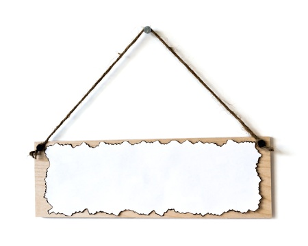 hang up: wooden board on white wall Stock Photo