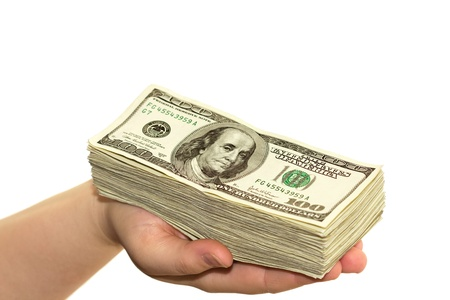 mano con dinero: la mano llena de dinero Foto de archivo