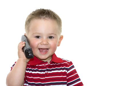 cute boy with phone over white background photo