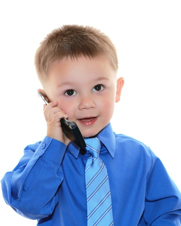 cute business man with phone over white background Stok Fotoğraf