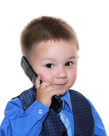 brainy: cute business man with phone over white background Stock Photo