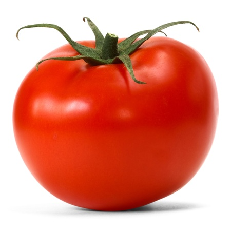 ripe: tomato over white background