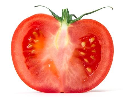 tomato slice: half tomato over white background