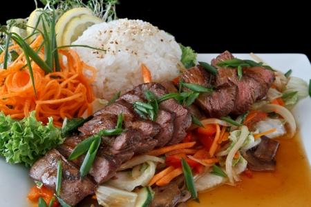쇠고기 데리야끼 쌀 스톡 콘텐츠