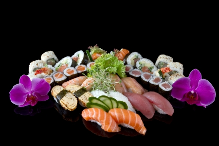 sushi set with decorated orchid Stock fotó