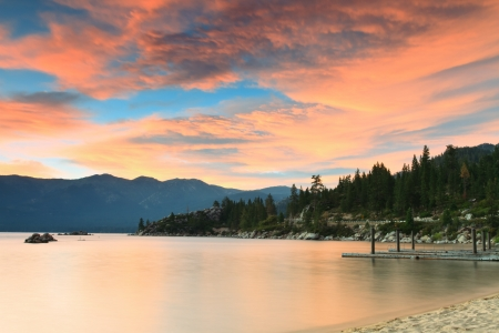 nevada: Lake Tahoe after sunset