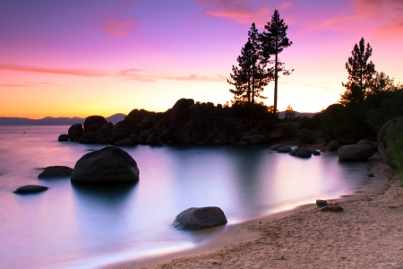 long lake: Sand Harbor Beach, Lake Tahoe