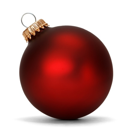 red christmas ball: red christmas ball over white background  Stock Photo