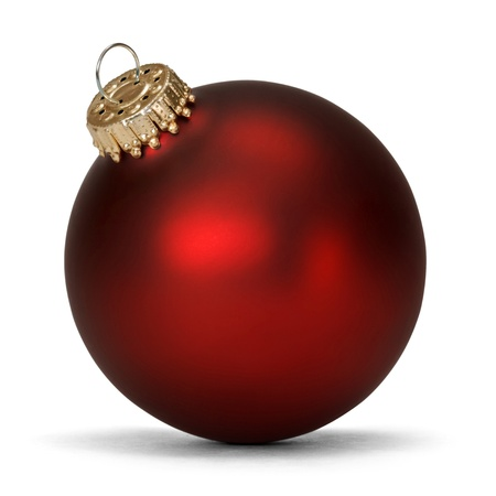 red christmas ball over white background  版權商用圖片