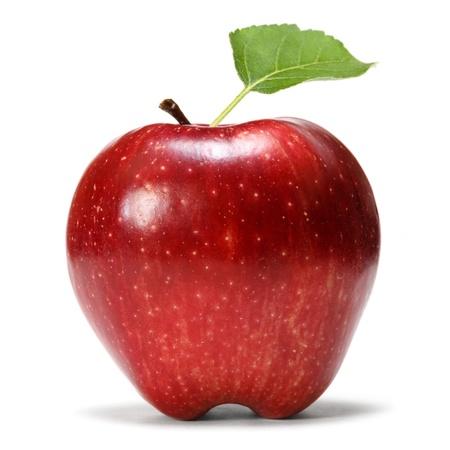 manzana roja: manzana roja con hoja Foto de archivo