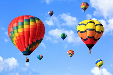 air: colorful hot air balloons