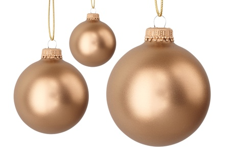 gold Christmas balls isolated on white Stock Photo - 16578399