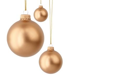 Or boules de Noël isolé sur blanc Banque d'images - 16047804