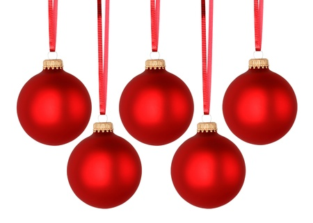 red christmas balls isolated on white stock photo 16047805
