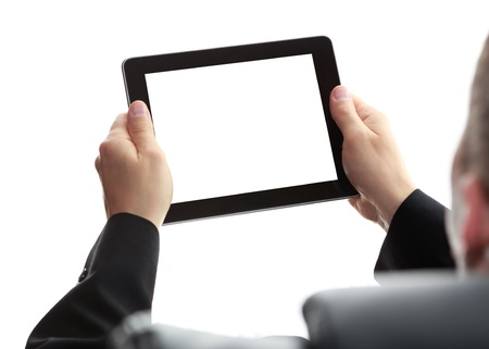 blank tablet: digital tablet in hands Stock Photo