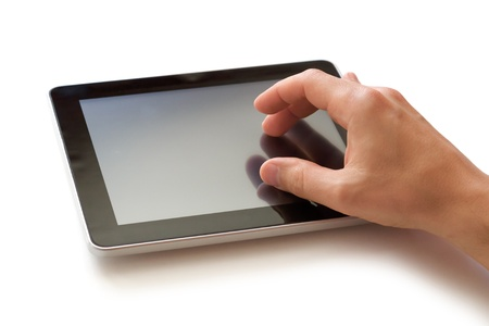 blank screen: digital tablet in hand