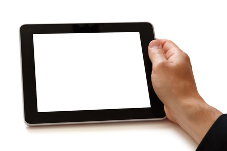 blank tablet: digital tablet in hand