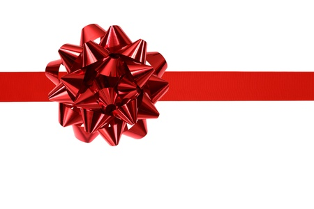 red ribbon and bow isolated on white background Stock Photo - 16139593