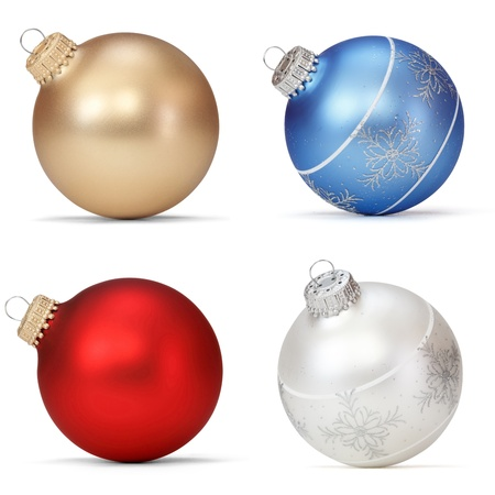 christmas ball isolated: set of Christmas balls