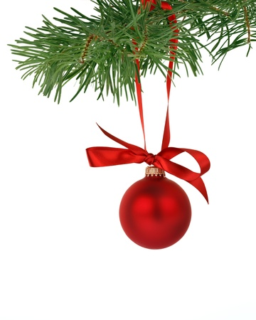 Christmas tree branch with red ball