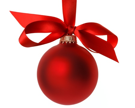 red Christmas ball with ribbon and bow Stock Photo
