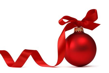 Rosso palla di Natale con nastro Archivio Fotografico - 16356097