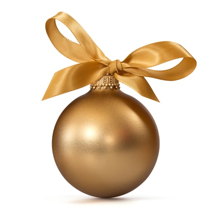 Gold Christmas ball with ribbon Stock Photo