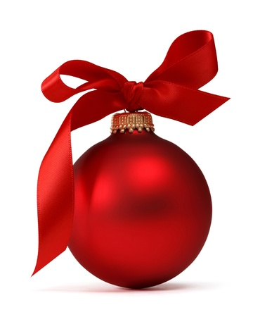 christmas ornaments: red Christmas ball with ribbon