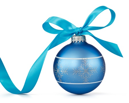 christmas ball isolated: blue Christmas ball with ribbon