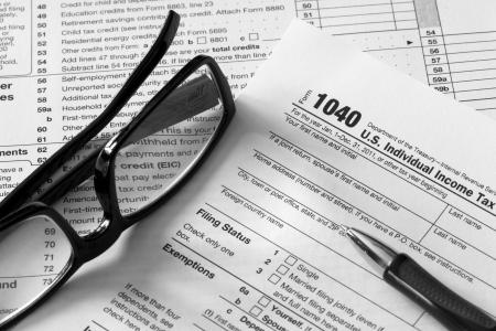 retour: fiscale documenten Stockfoto