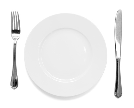 knife and fork with plate Stock Photo - 18287983