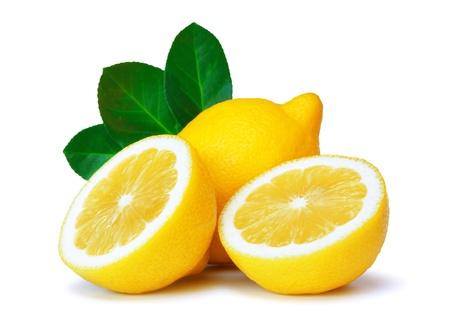 lemons over white background