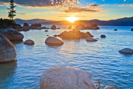 sunset lake: sunset, lake Tahoe