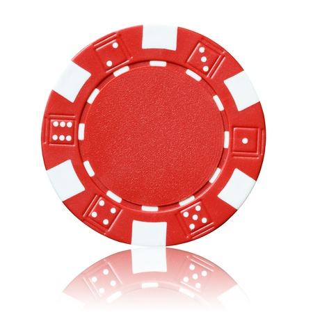 poker chip: ficha de p?quer de color rojo
