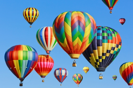 air: hot air balloons over blue sky