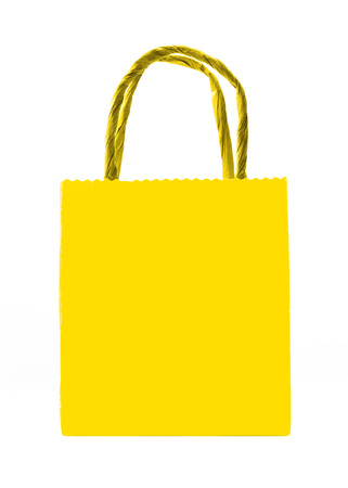 yellow shopping bag isolated