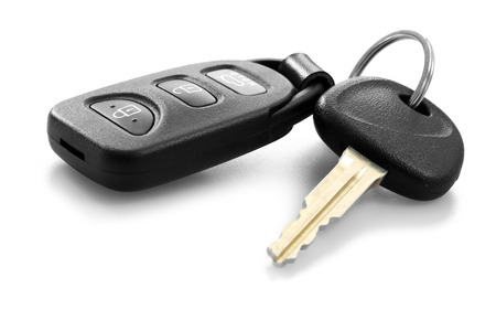 black and white lock: car key with remote control