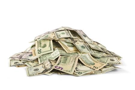 stack of cash: pile of cash
