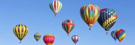 air: Hot air balloons panorama Stock Photo