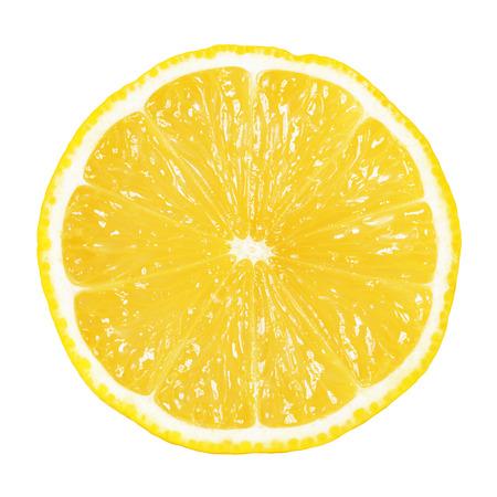 schijfje citroen op wit wordt geïsoleerd