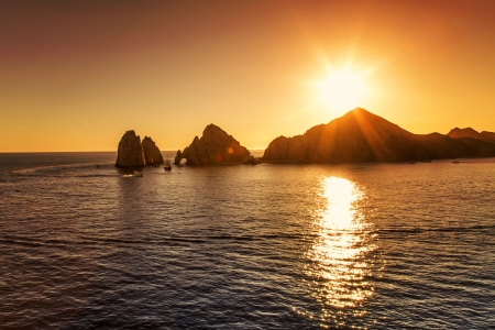 cabo: Sunset over Cabo San Lucas Stock Photo