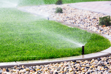 backyards: Automatic sprinklers watering grass