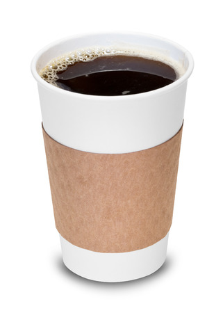 disposable: Cup of coffee with clipping path Stock Photo